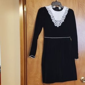 Alyssa Black and White Velvet Dress